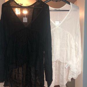 ZARA Wool Collection Sheer long sleeve womens top